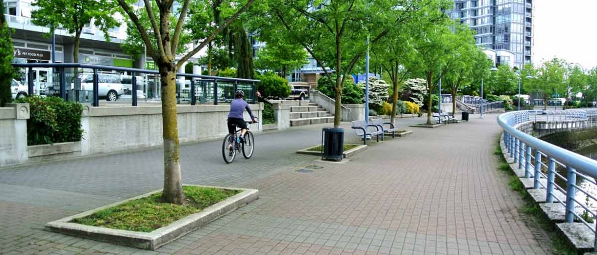 Marinaside Waterfront Streetscape with Bikepath and Waterfront